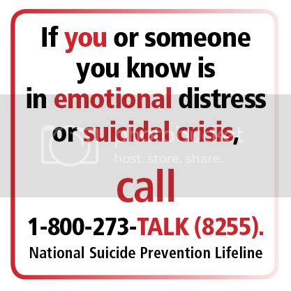 Suicide or Emotional Distress hotline: 1-800-273-TALK